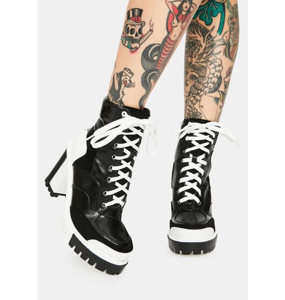 AZALEA WANG Ink Captain Colorblock Ankle Boots