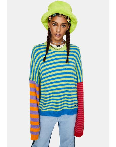 Dynamite Fuzzy Striped Sweater