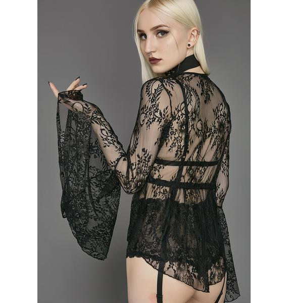 Widow Prayer Long Sleeved Lace Top