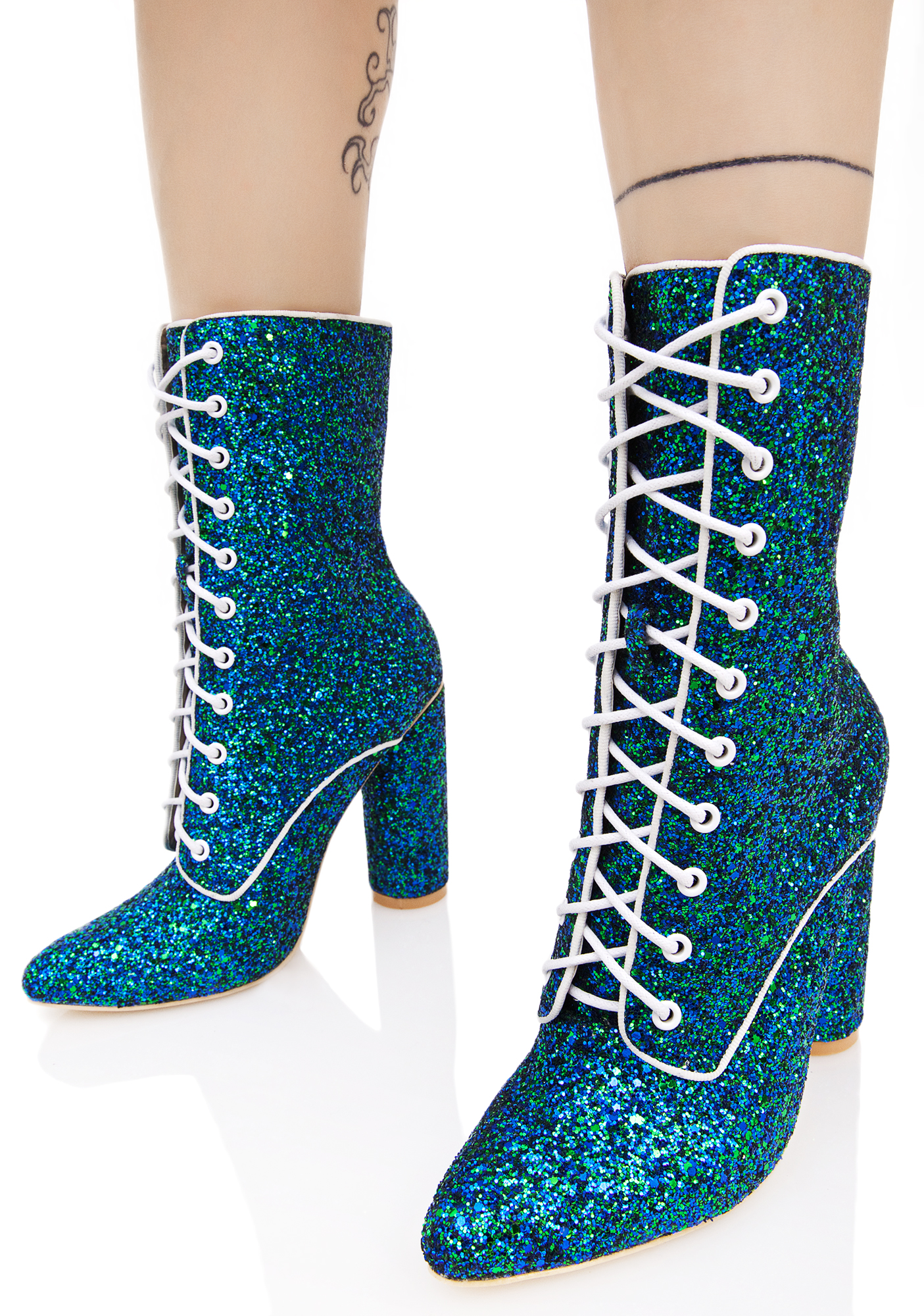 Blue Lace Up Glitter Heeled Boots