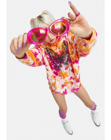Never Let Go Tie Dye Butterfly Hoodie