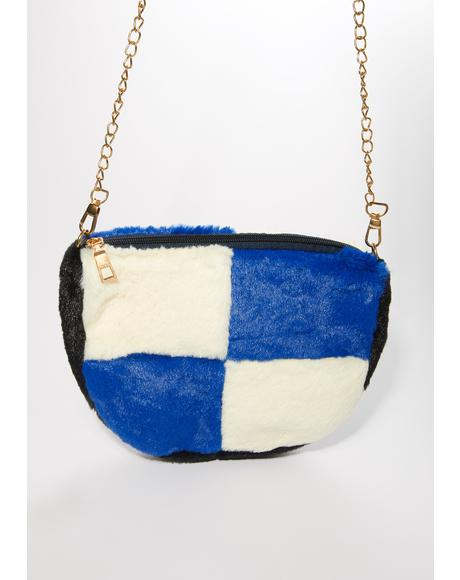 Royally Checked Fuzzy Crossbody Bag