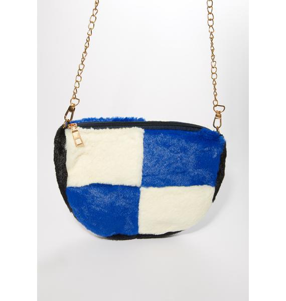 Royally Checked Fuzzy Crossbody Bag