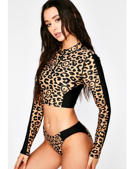 Leopard Rash Guard Bikini Top