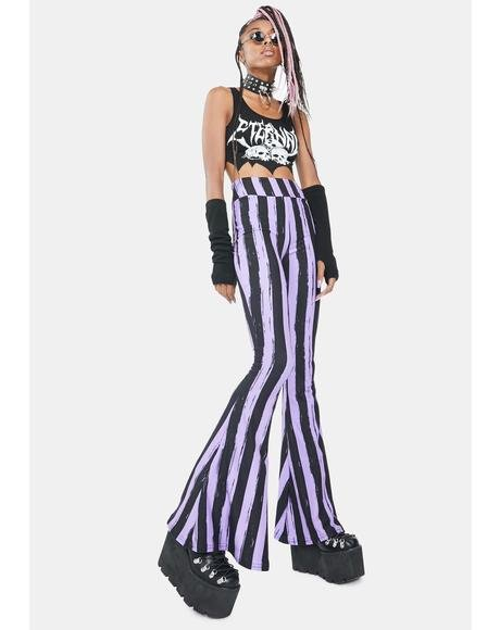 Purple And Black Bell Bottom Pants