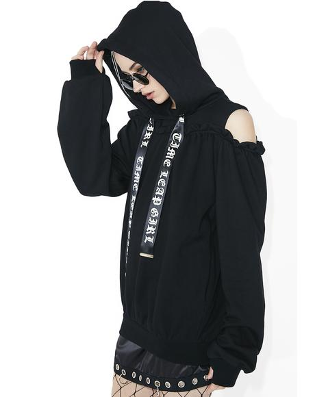 Time Leap Girl Open Shoulder Hoodie