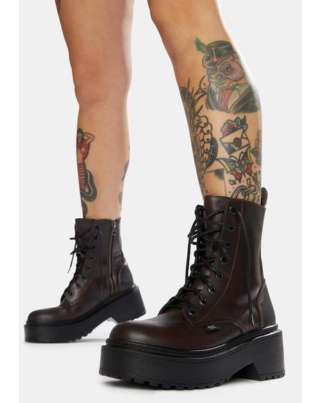 Tomboy Dark Red Leather Combat Boots