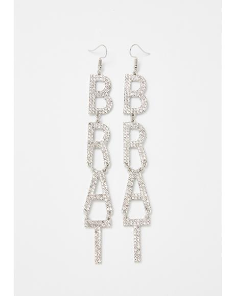 Bratty Behavior Rhinestone Earrings