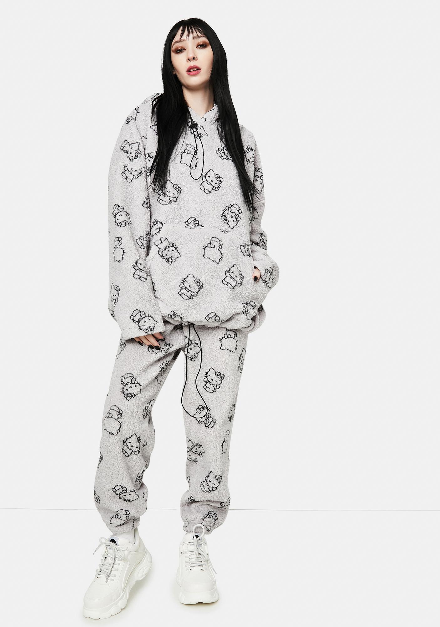NEW GIRL ORDER Grey Hello Kitty Printed Fleece Hoodie