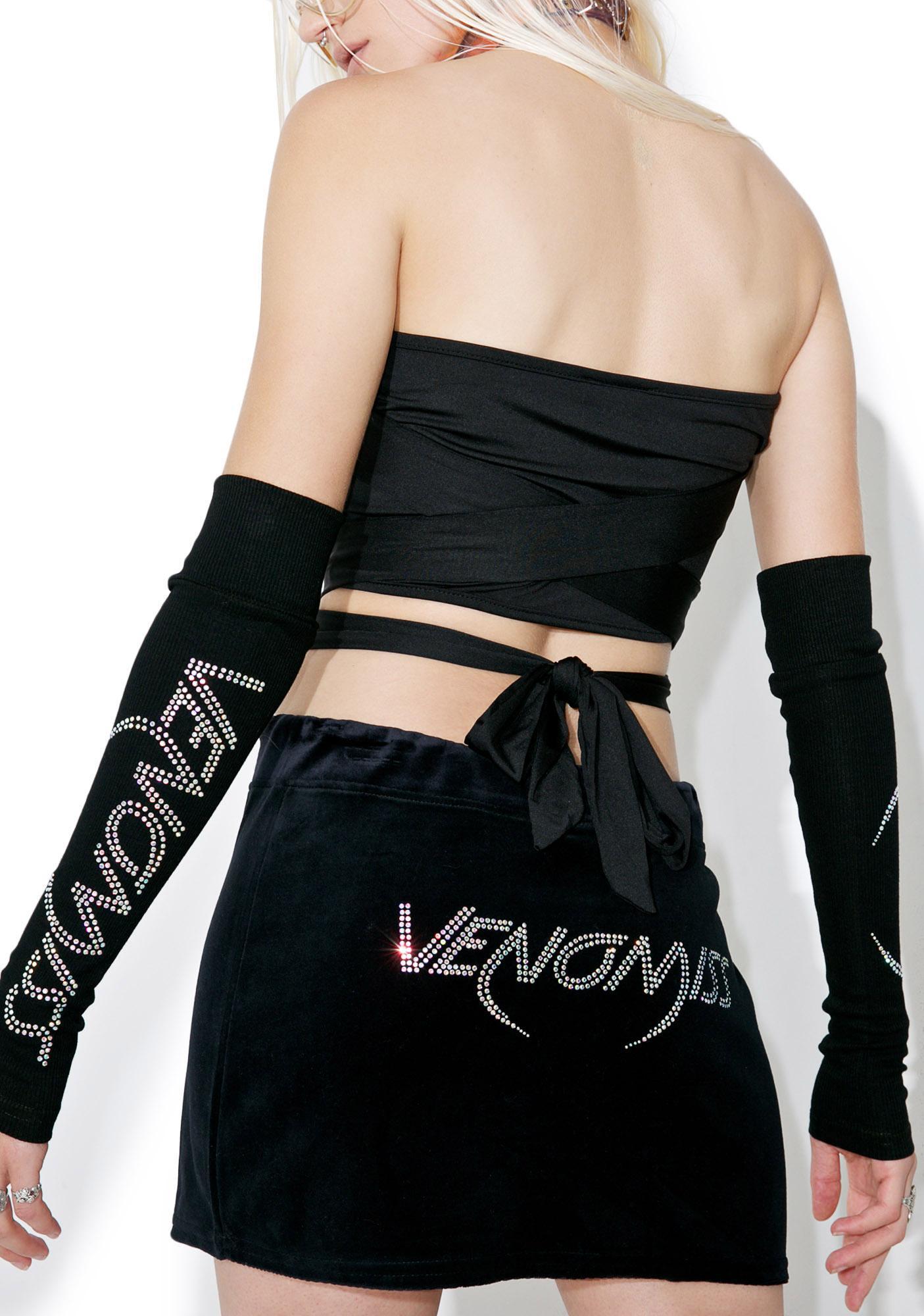 Venomiss NYC Crystal Logo Velour Mini Skirt