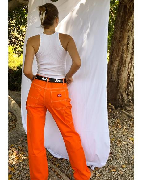 Orange Belted Carpenter Pants