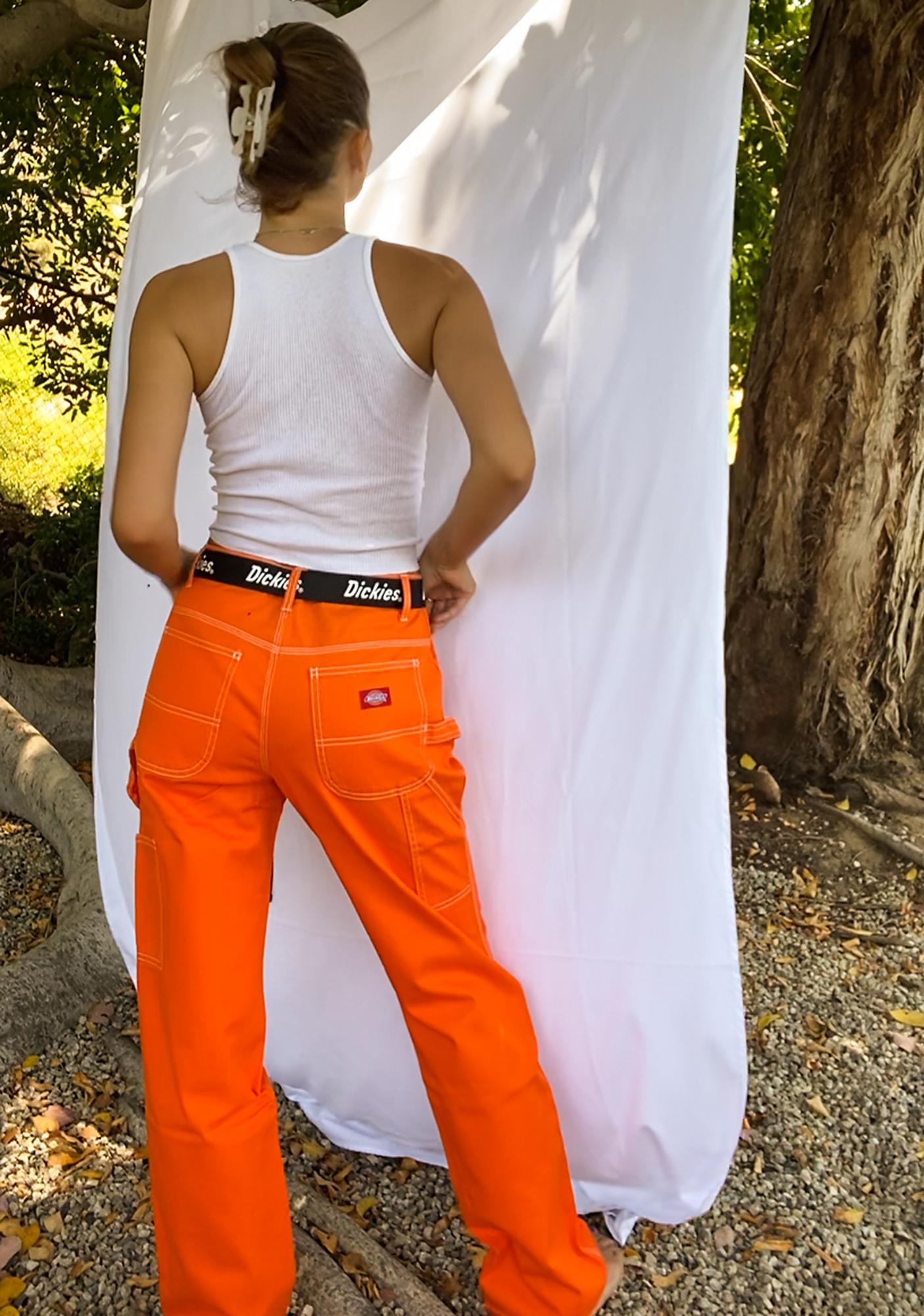 Dickies Girl Orange Belted Carpenter Pants