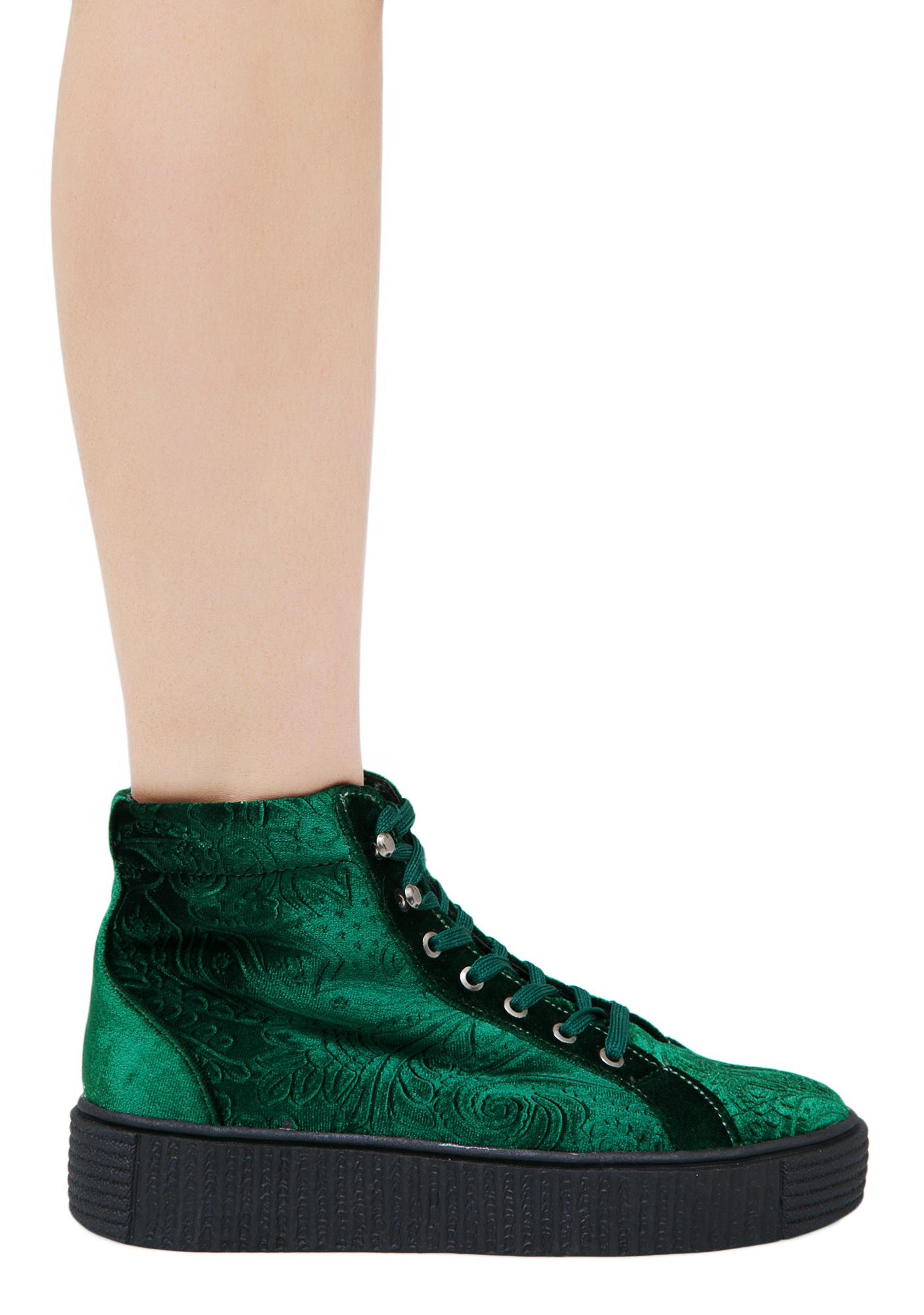 Emerald Move In Silence Velvet Creeper Sneakers