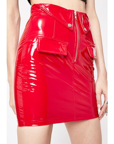 Hot Doll Dilemma Vinyl Skirt
