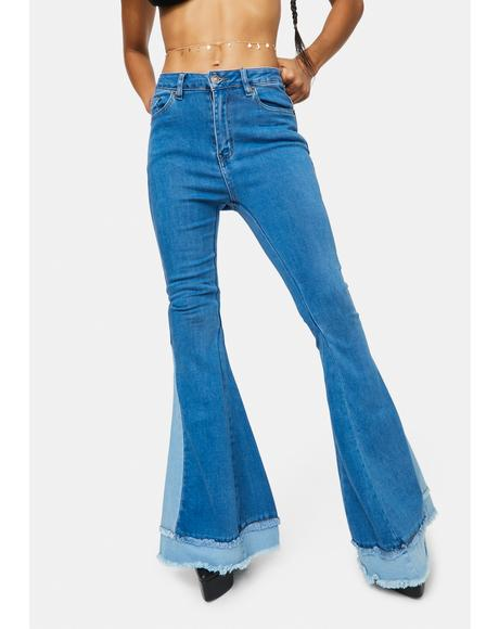 Fierce Fun Colorblock Layered Flare Jeans