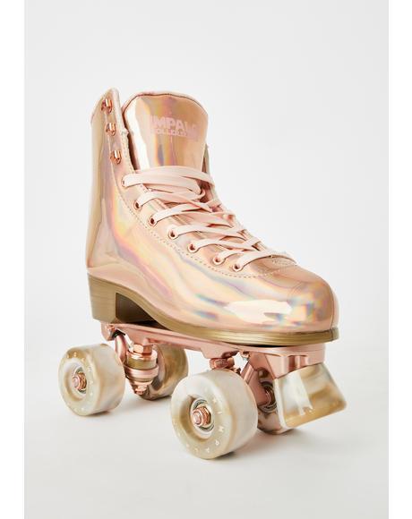 Marawa Rose Gold Holographic Roller Skates