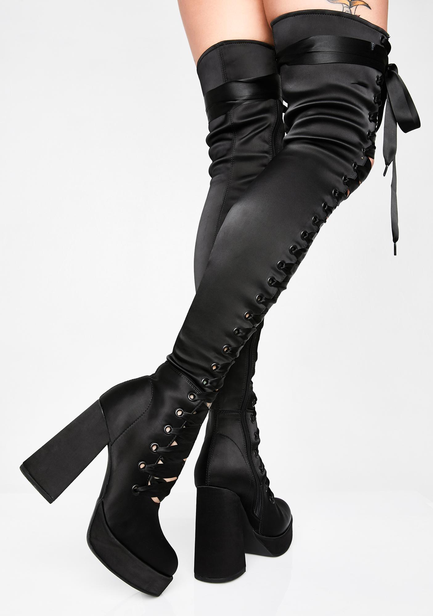 Sugar Thrillz Luna Dollhouse Diva Thigh High Boots