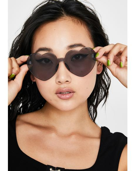 Sinful Clearly In Lust Heart Sunglasses