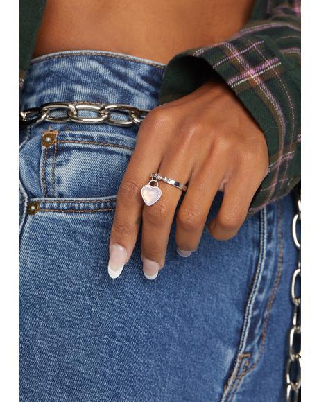 Still Luv U Heart Charm 2 Piece Ring Set