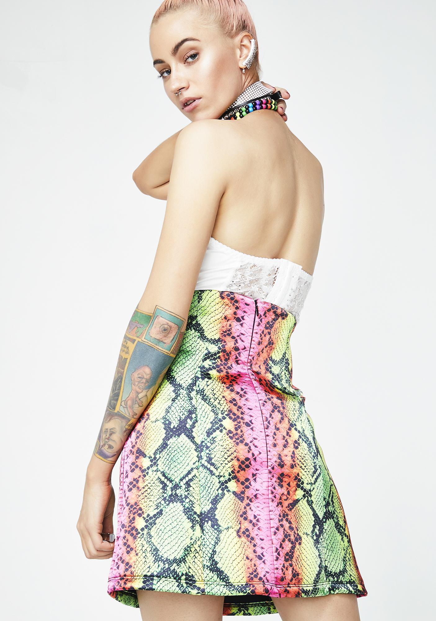 Jaded London Snake Print High Waist Skirt