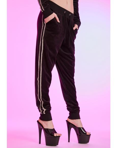 Chasing Checks Rhinestone Trim Joggers