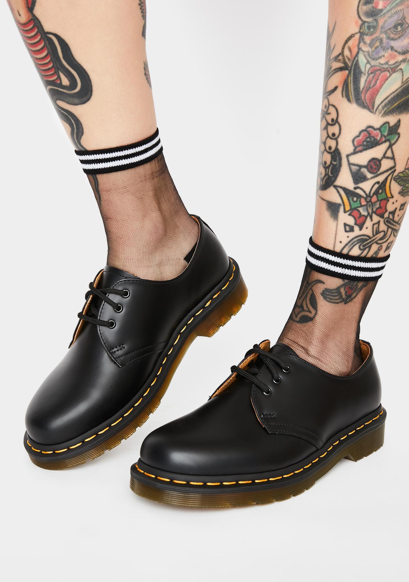 black 1461 pascal velvet flat shoes