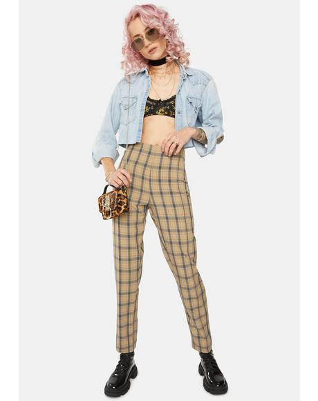 Caramel Tartan High Waist Trousers