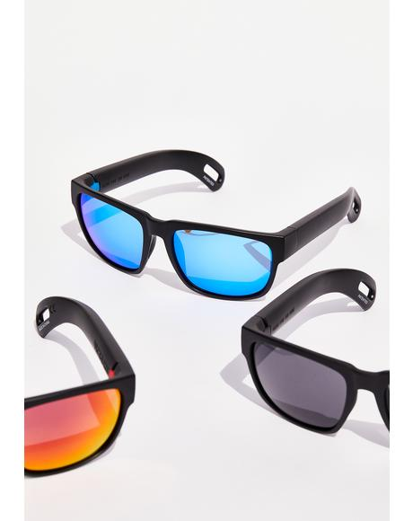 Blue Hidden Storage Mirror Lens Sunglasses