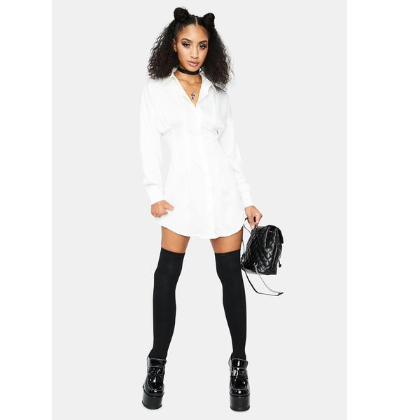 Chill Step Into My Office Satin Shirt Dress