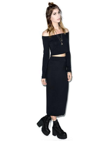 Midnight Midi Pencil Skirt