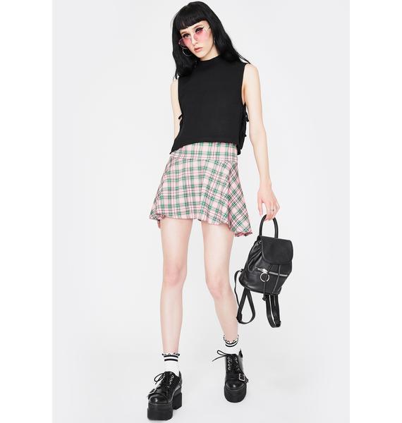 NEW GIRL ORDER Green Gingham Mini Skirt