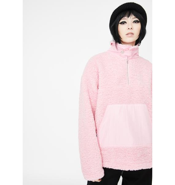 Somewhere Nowhere Pink Zipper Sherpa Pullover