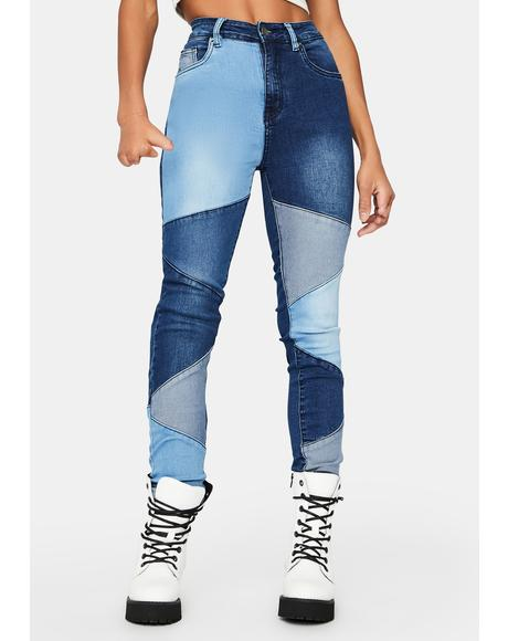 Hey Angel Patchwork Skinny Jeans