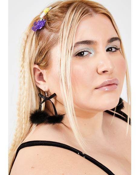 Material Girl Puff Ball Earrings