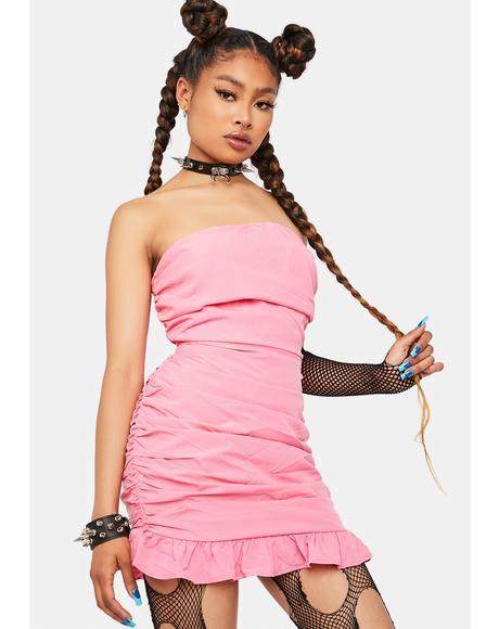 Be Unique Strapless Ruched Mini Dress