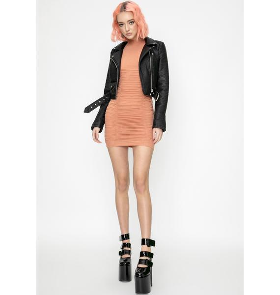Kiki Riki Orange Baddie Ecstasy Ruched Dress