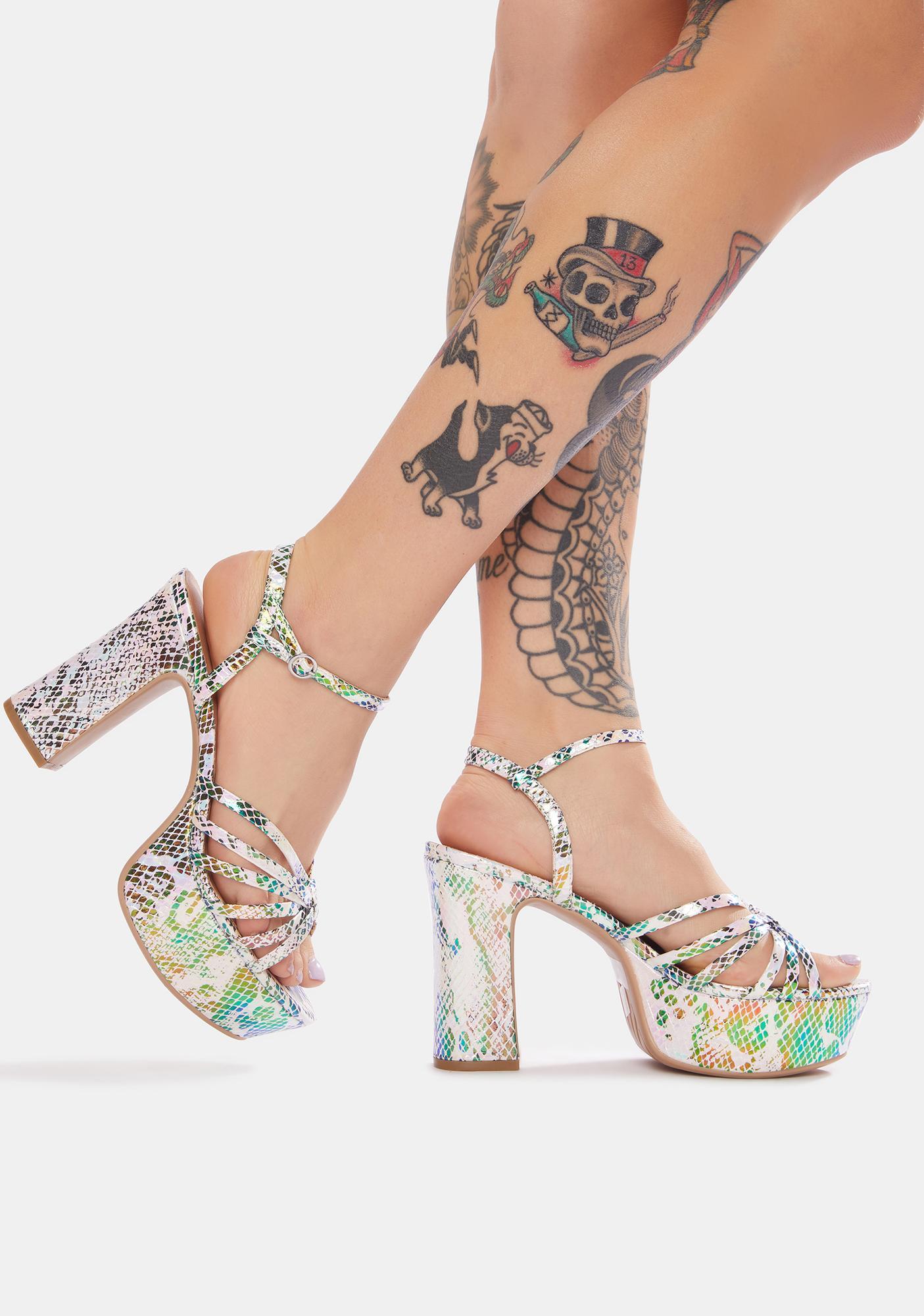 Chinese Laundry Iridescent Snake Doll Platform Sandals