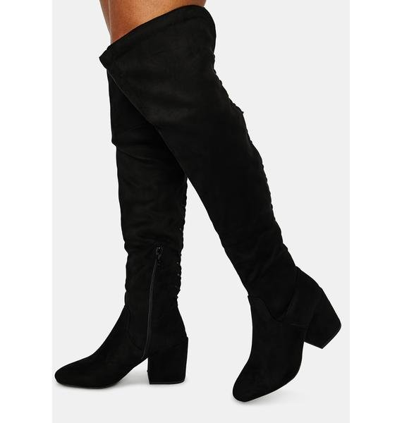 Dance With Me Lace Back Knee High Boots