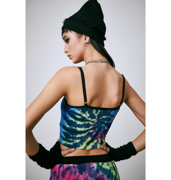 Current Mood Warped Reality Tie Dye Cami