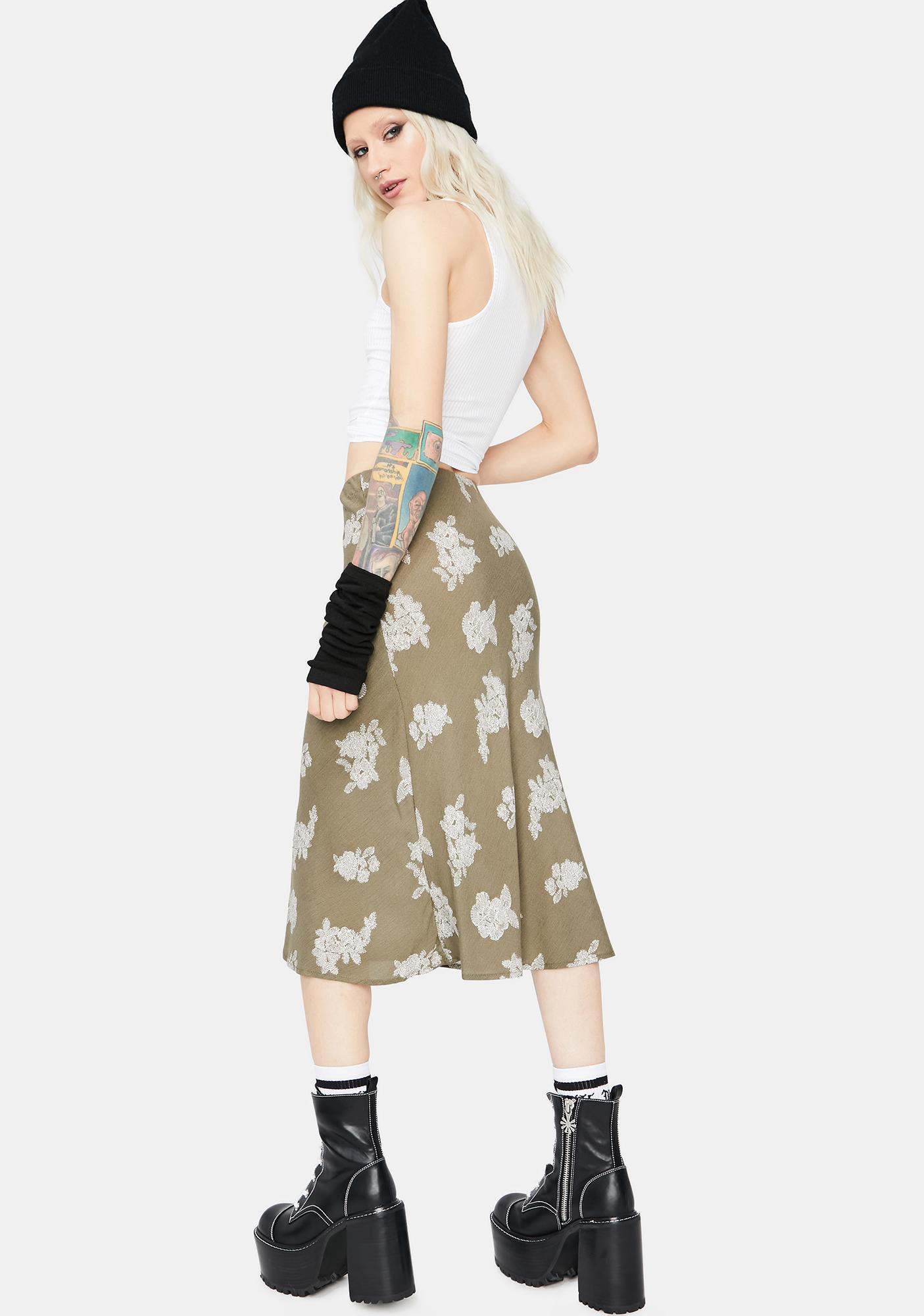 Just Friends Floral Midi Skirt
