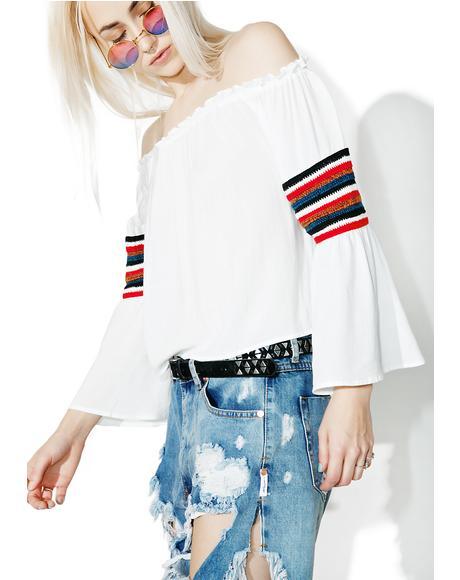 Earn Yr Stripes Off-Shoulder Top
