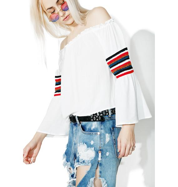 Earn Yr Stripes Off-Shoulder Top