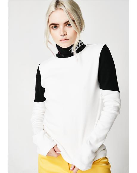 Block Turtleneck Long Sleeve Tee