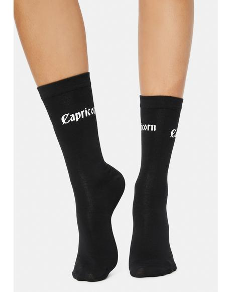 Miss Workaholic Capricorn Crew Socks