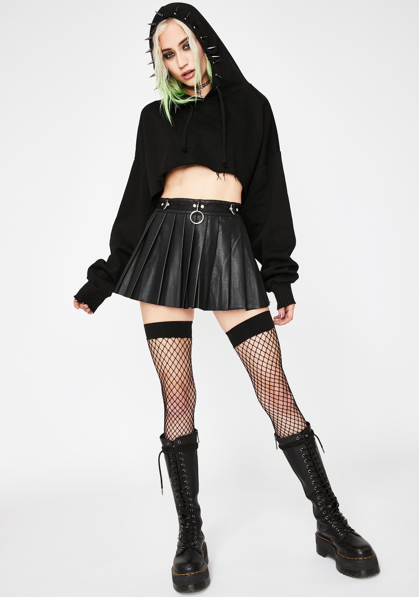 Current Mood Spade Pleated Micro Mini Skirt