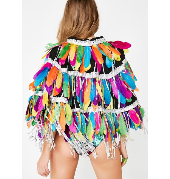 Jaded London Feathers and Sequin Fringe Cape