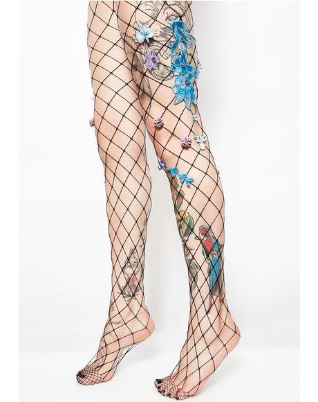 Fantasia Fairy Applique Fishnets