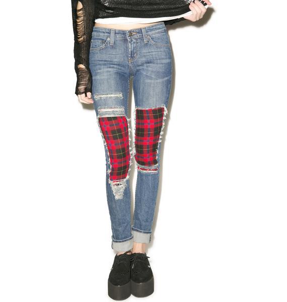 JET by John Eshaya Plaid Boyfriend Jeans