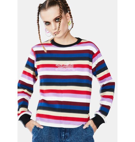x-Girl Pink Multi Stripe Top