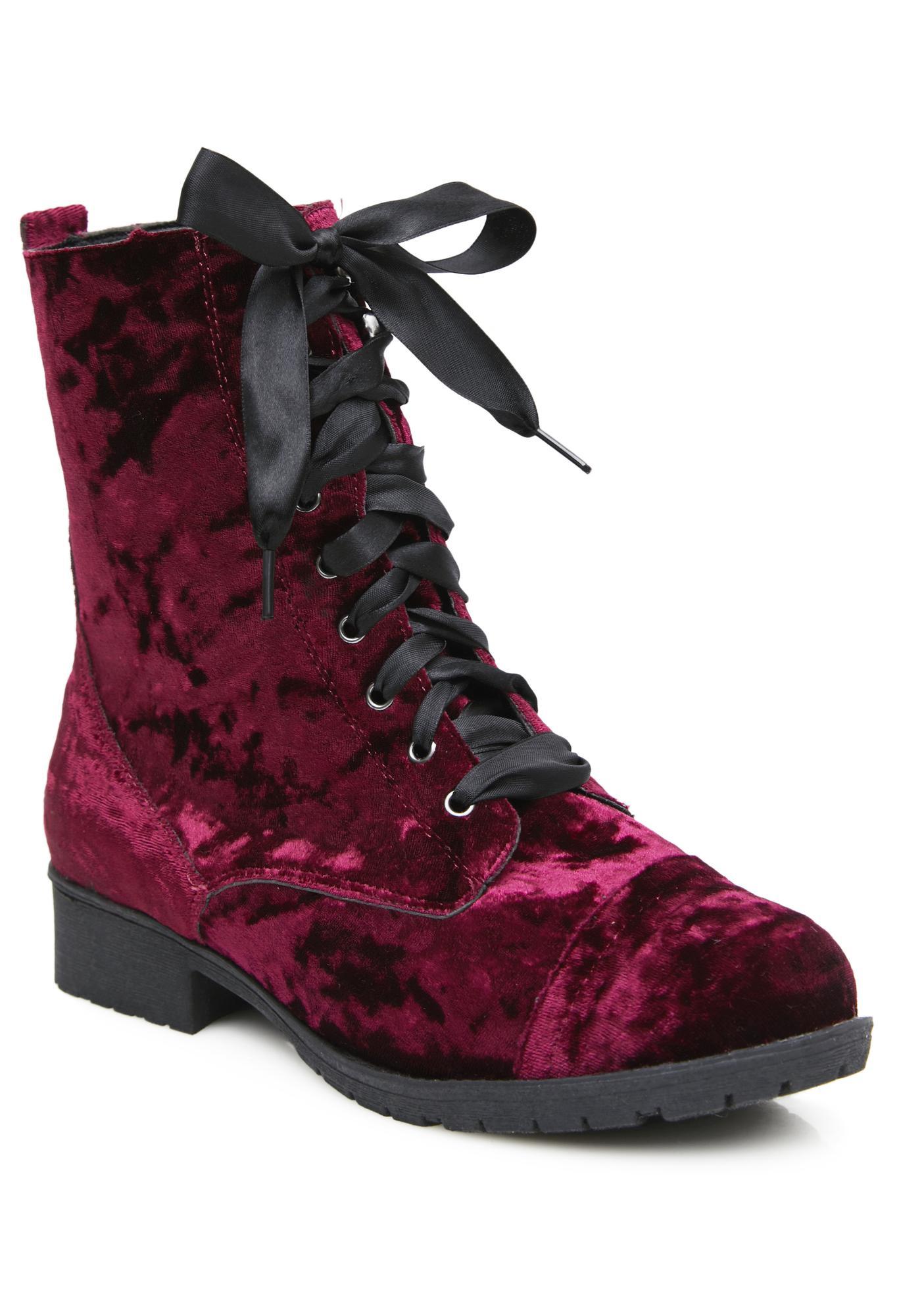 Crushed Romance Velvet Combat Boots